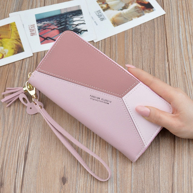 Geometric Luxury Leather Wallets Women Long Zipper