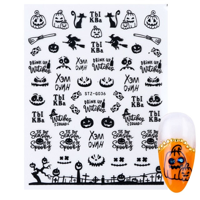 halloween nail art Ghost Pumpkin Cool Spooky