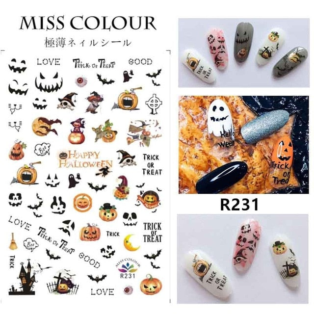 Halloween water transfer nail art stickers pumpkin skull design