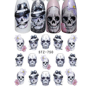 Halloween Nail Art Sticker Sexy Skull Bone