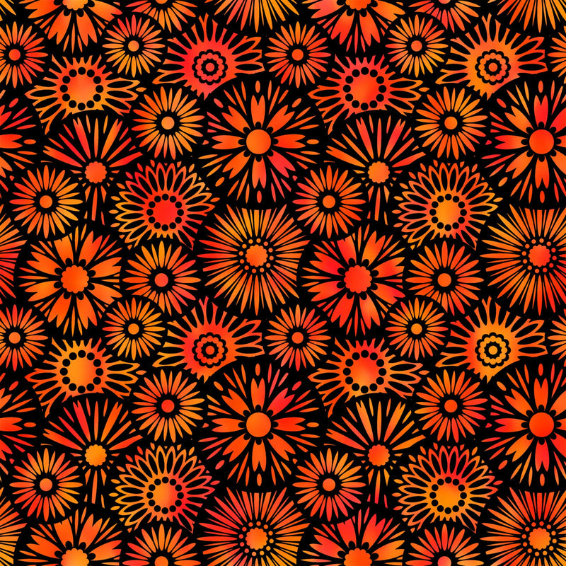 Unusual Gardens II By Jason Yenter - Black/Orange Blooms 🇨🇦