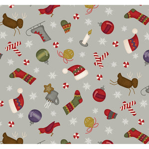 Most Wonderful Time of Year - Tossed Motifs - Grey Background CHR