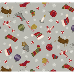 Most Wonderful Time of Year - Tossed Motifs - Grey Background