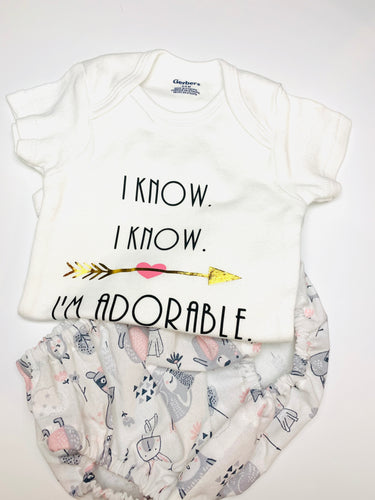 I know I know I'm Adorable Onesie and Woodland Animal Bloomer
