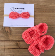Load image into Gallery viewer, Knit Coral Mary Janes with Headband