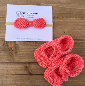 Knit Coral Mary Janes with Headband