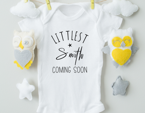 Personalized Pregnancy Announcement Onesie/Name Baby Onesie/Coming Soon