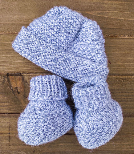 Hand Knitted Gray Hat with Booties