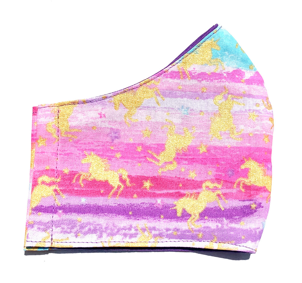 Multicolor Unicorn Kids Face Mask with Filter
