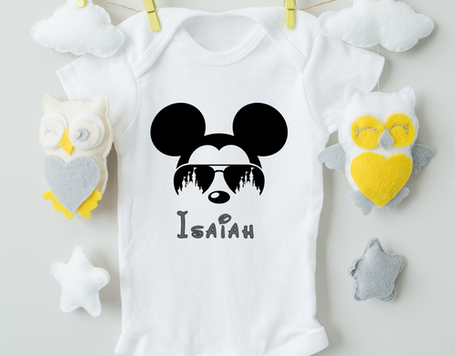 Personalized Mickey Mouse Baby Onesie