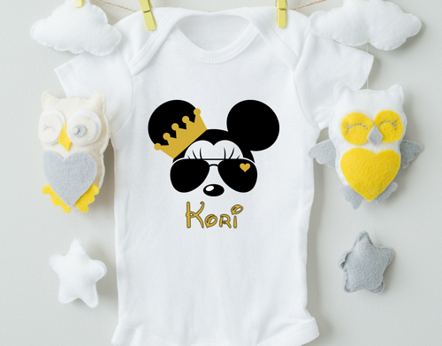 Personalized Minnie Mouse Baby Onesie