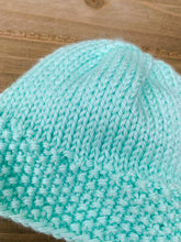 Load image into Gallery viewer, Newborn Mint Knit Baby Hat