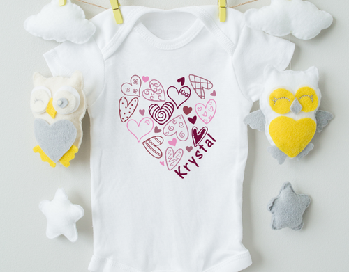 Personalized Purple Heart Onesie