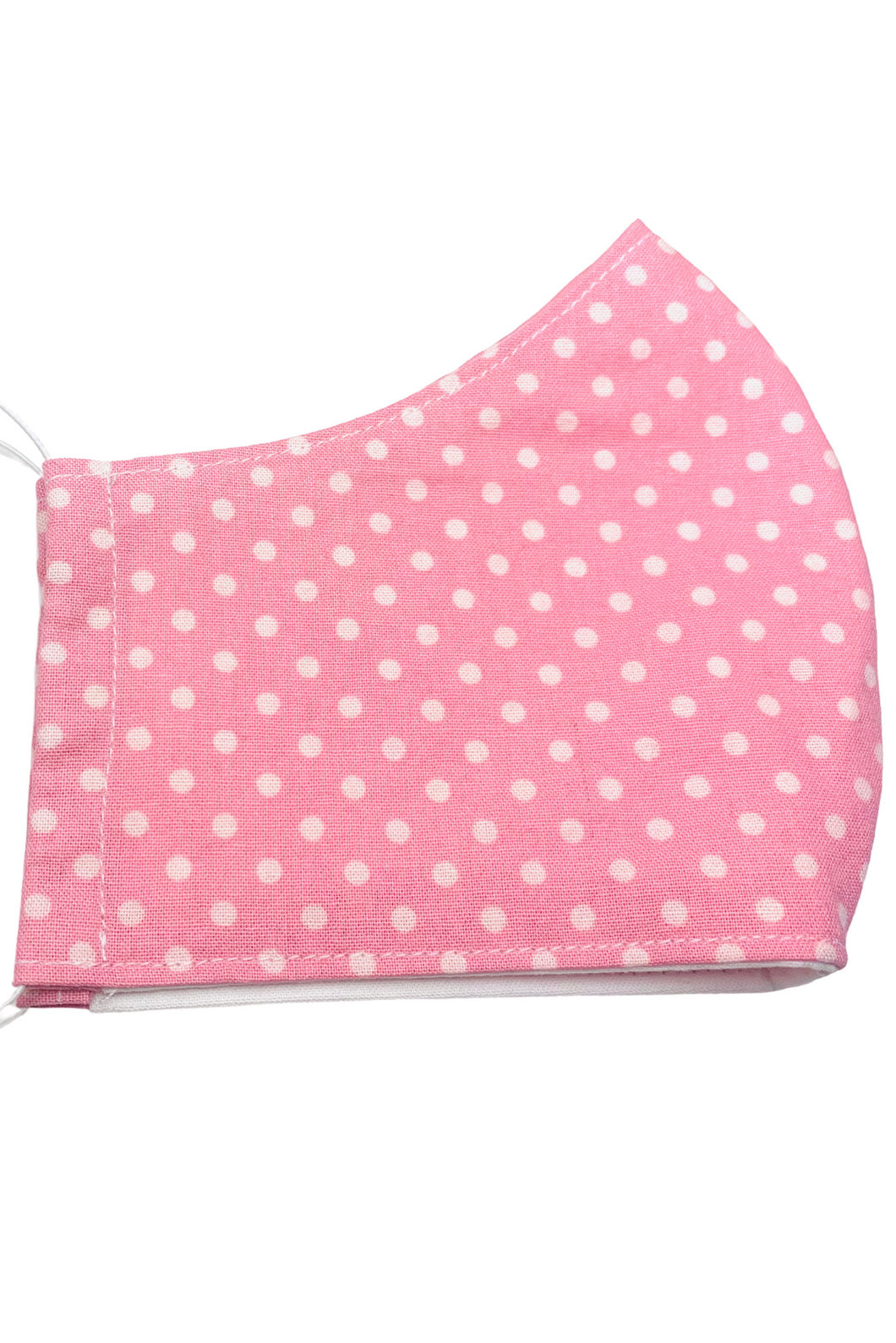 Pink and White Polka Dot Kids Face Mask with Filter