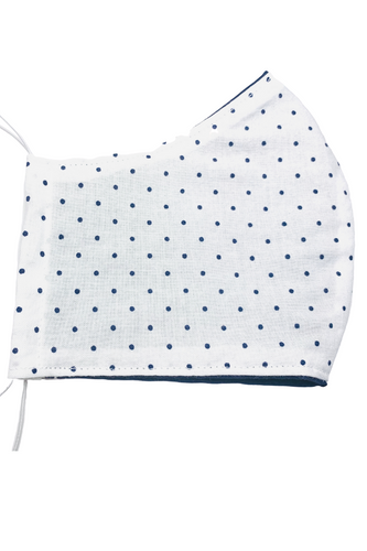 White and Blue Polka Dot Kids Face Mask with Filter
