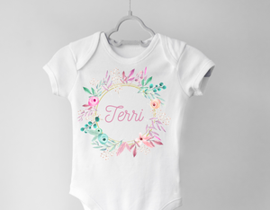 Personalized Floral Baby Girl Onesie