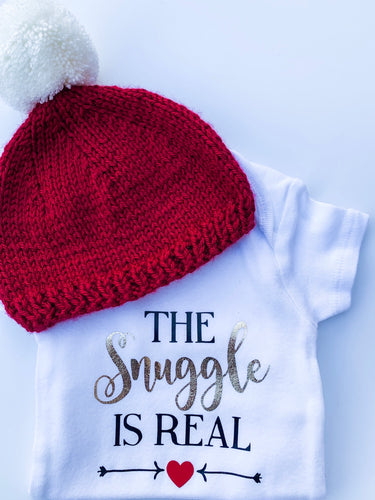 The Snuggle Is Real Onesie and Red Knit Hat with White Pom Pom