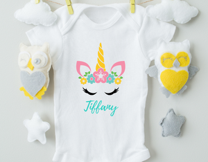 Personalized Unicorn Baby Onesie