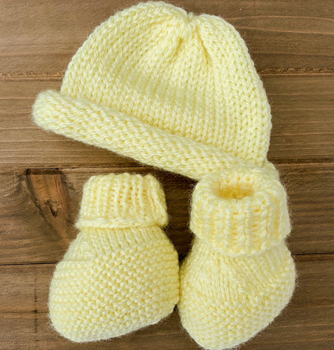 Hand Knitted Yellow Hat with Booties