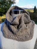 HAND-KNIT 100% SUSTAINABLE CASHMERE NECK WARMER  in 'FELCI' pattern