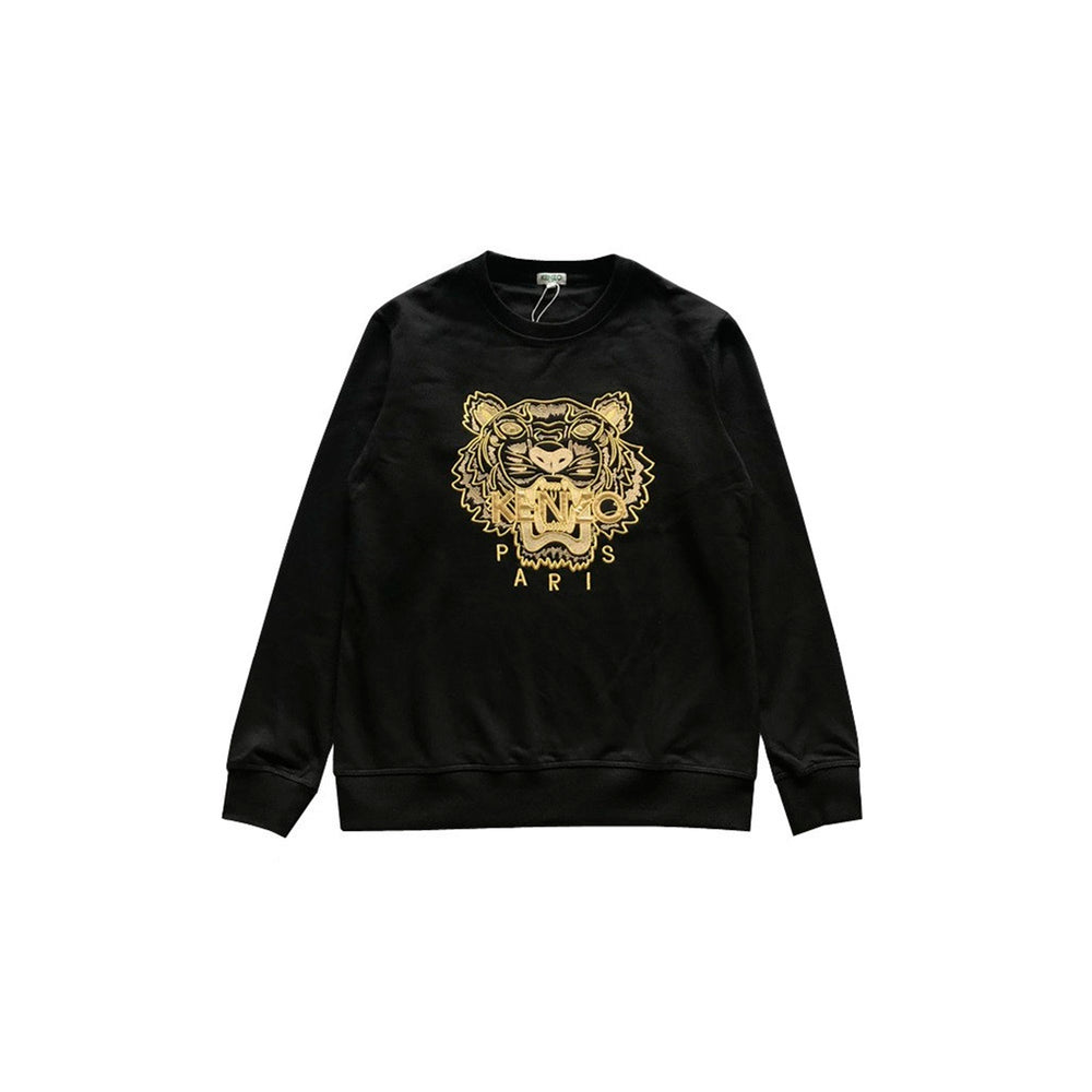 Gold tiger logo sweater Black