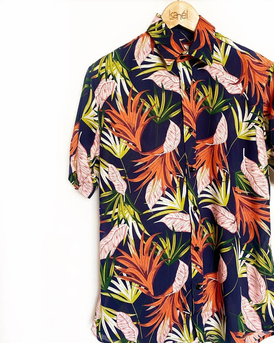 Tropical Navy Button Down