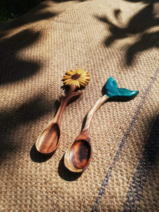 Mermaid and Sunflower Wooden Spoon