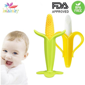 Infant Baby Teether Toy Silicone Banana Corn Baby Teethers Toy Soothing Teething Pacifier Chew Infant Oral Tooth Brush 7-9Months