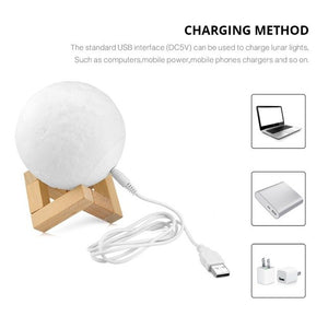 3D Print Moon lamp Moon light USB LED Rechargeable Novelty Touch Sensor Table Desk lamp Creative Night light Decor Birthday Gift