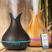 Load image into Gallery viewer, 400 ml Ultrasonic Air Humidifier Aroma Essential Oil  Diffuser with Wood Grain 7 Color Changing LED Lights for Office Home