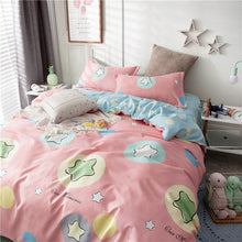 Load image into Gallery viewer, Star Owl Plaids 4pcs Bed Cover Set Cartoon Duvet Cover Adult Kids Boys Bed Sheets And Pillowcases Comforter Bedding Set 61001