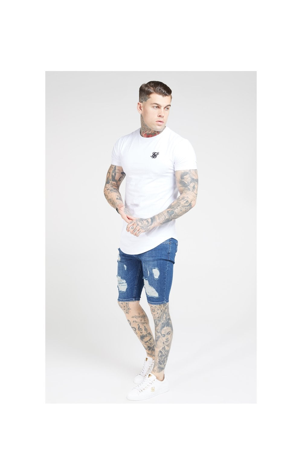 SikSilk Short en Denim Déchiré Skinny - Pierre (4)