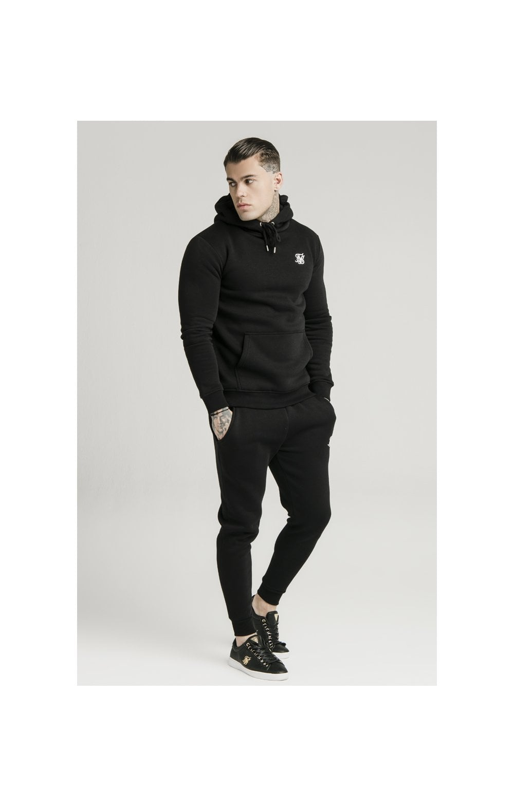 SikSilk Muscle Fit Overhead Hoodie - Black (2)