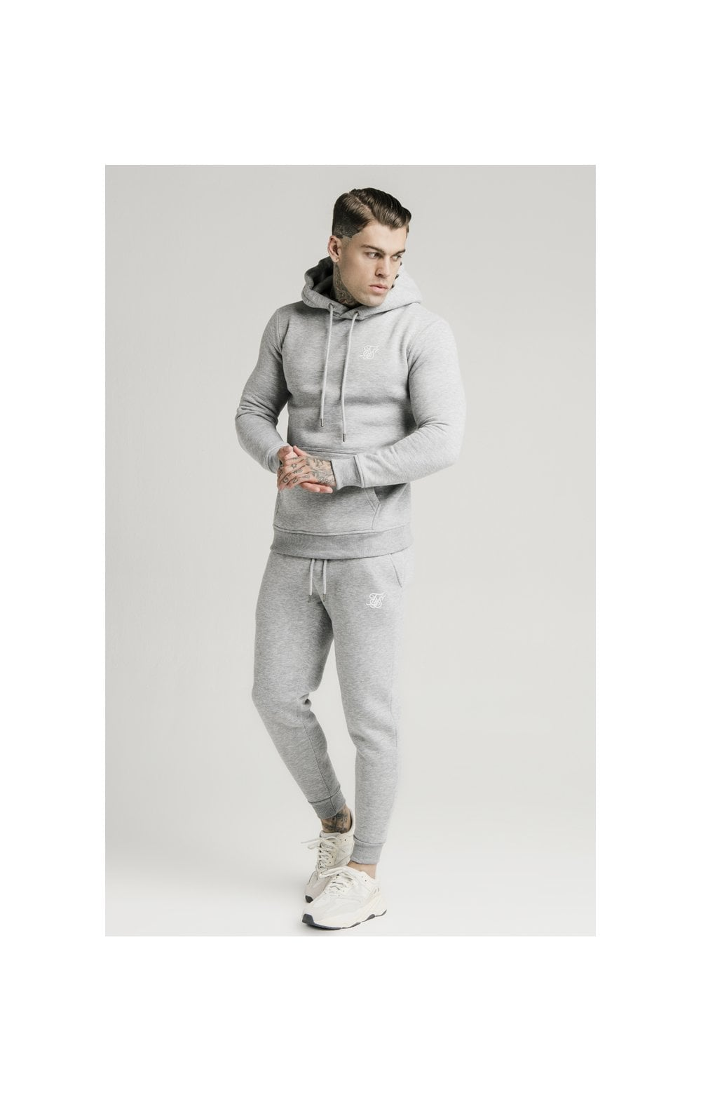 SikSilk Muscle Fit Overhead Hoodie - Grey Marl (1)