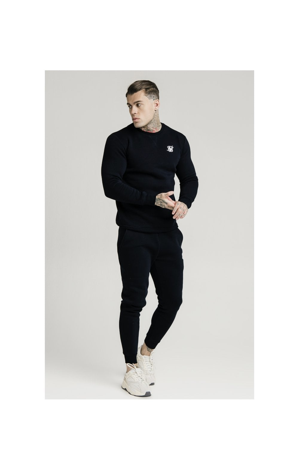 SikSilk Crew Sweat - Black (1)