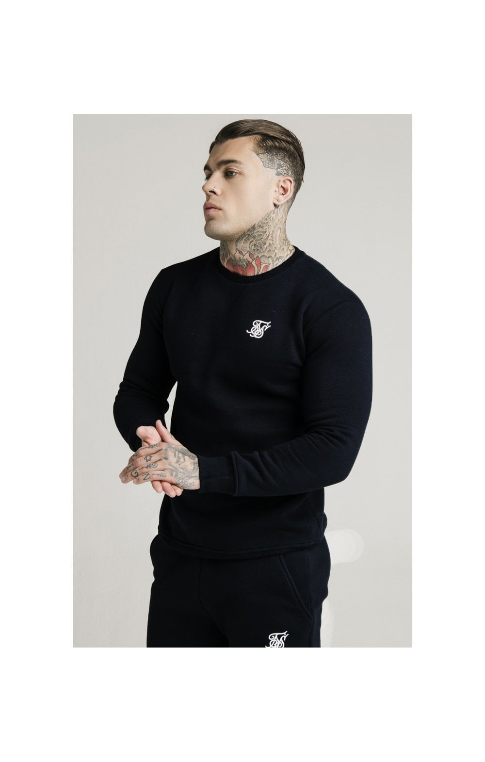 SikSilk Crew Sweat - Black (2)