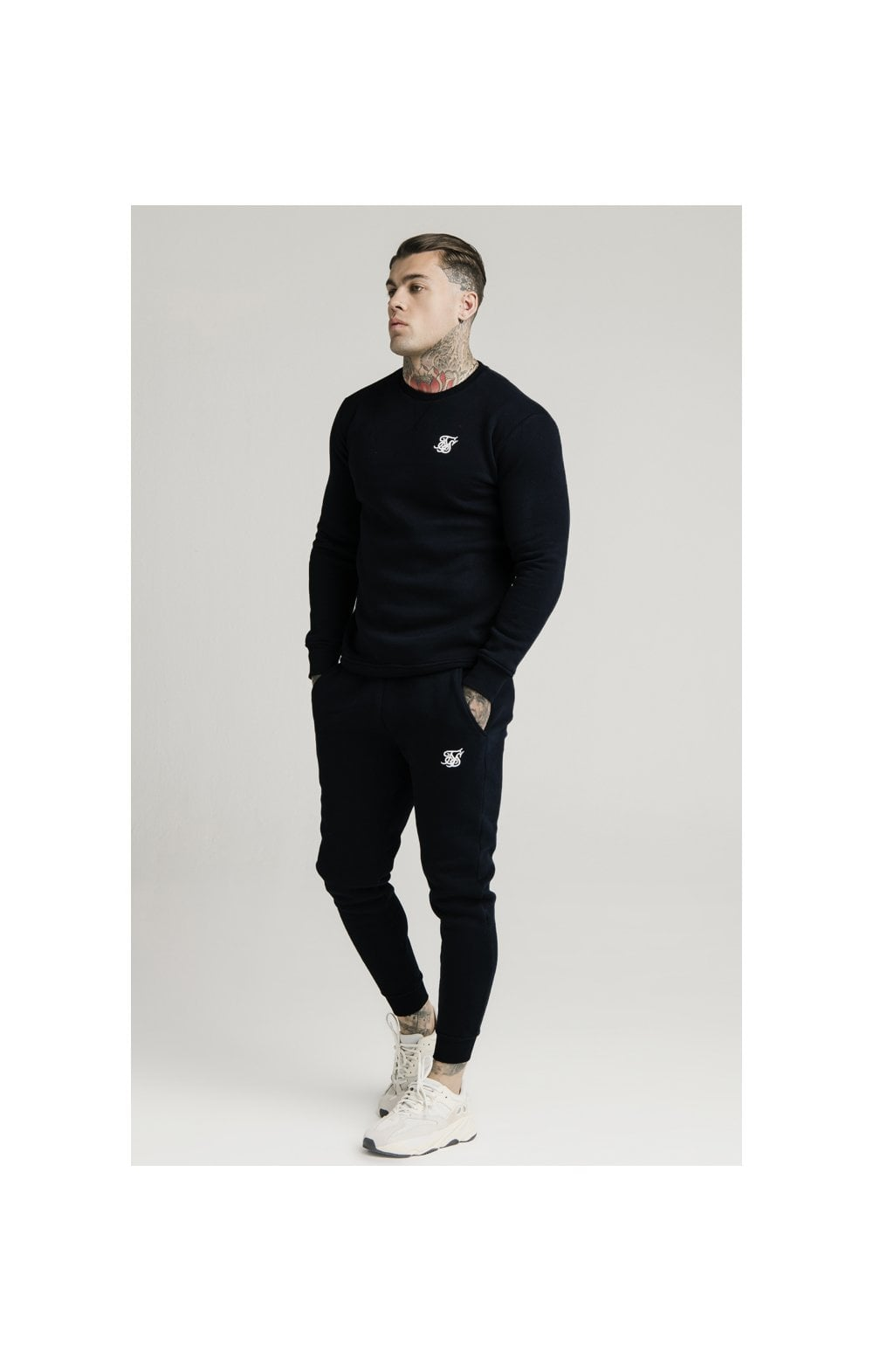 SikSilk Crew Sweat - Black (3)