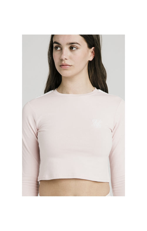 SikSilk Long Sleeve Crop Top - Cloud Pink
