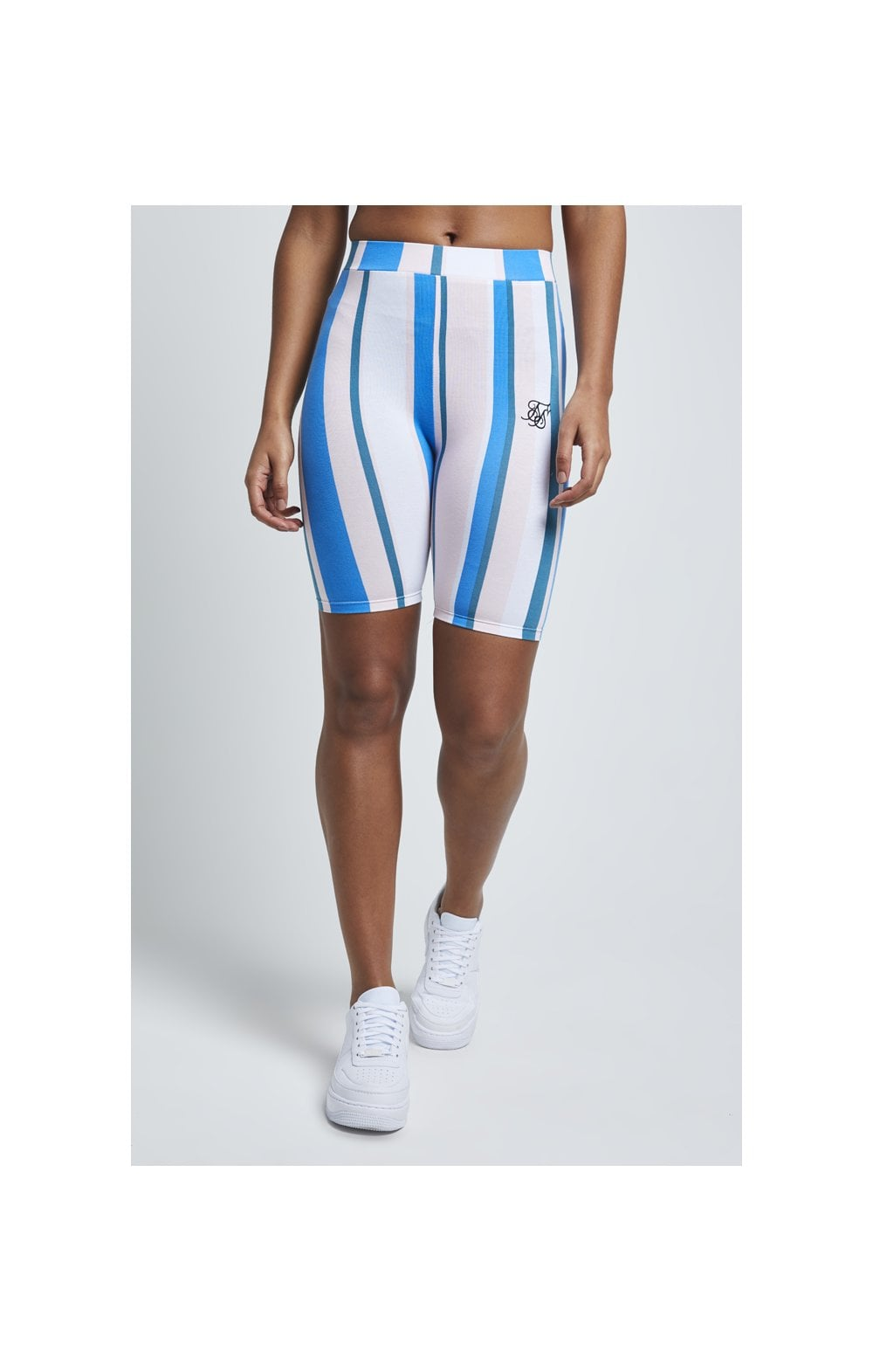SikSilk 90's Stripe Cycle Shorts - Rotary Stripe (1)