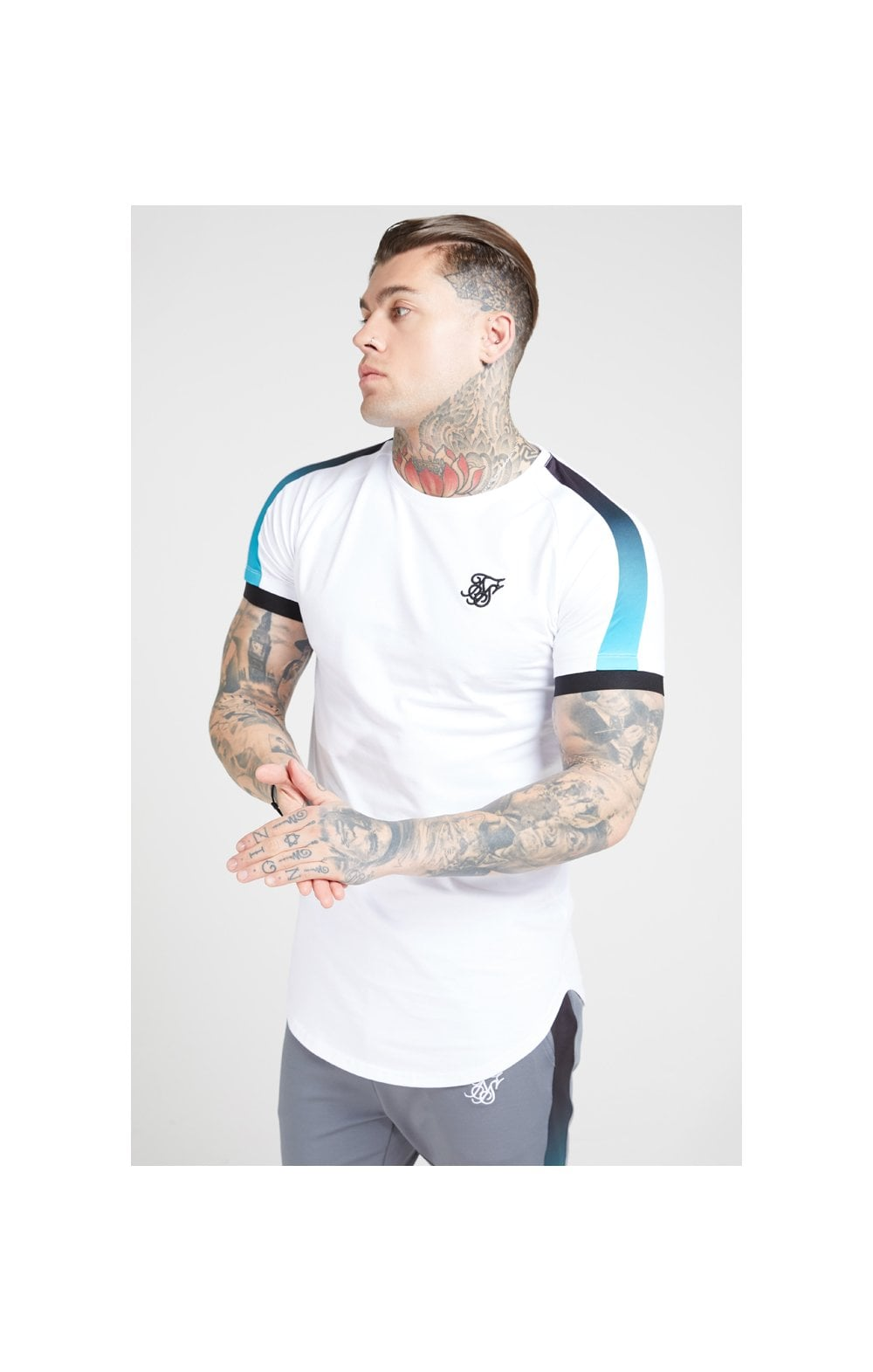 SikSilk S/S Inset Cuff Fade Panel Tech Tee – White, Black & Teal (1)