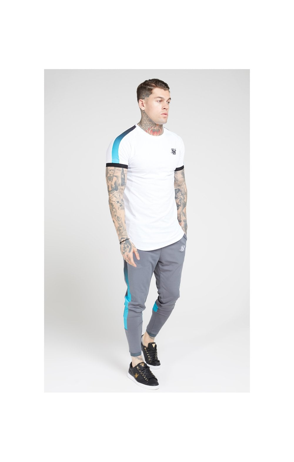 SikSilk S/S Inset Cuff Fade Panel Tech Tee – White, Black & Teal (3)