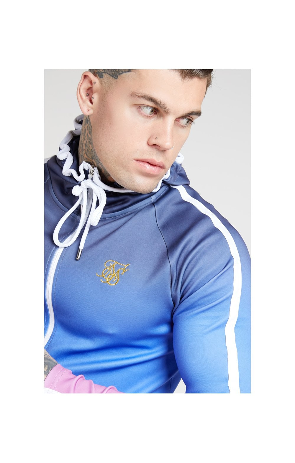 Charger l'image dans la galerie, SikSilk Athlete Zip Through Fade Hoodie – Tri-Neon Fade (1)