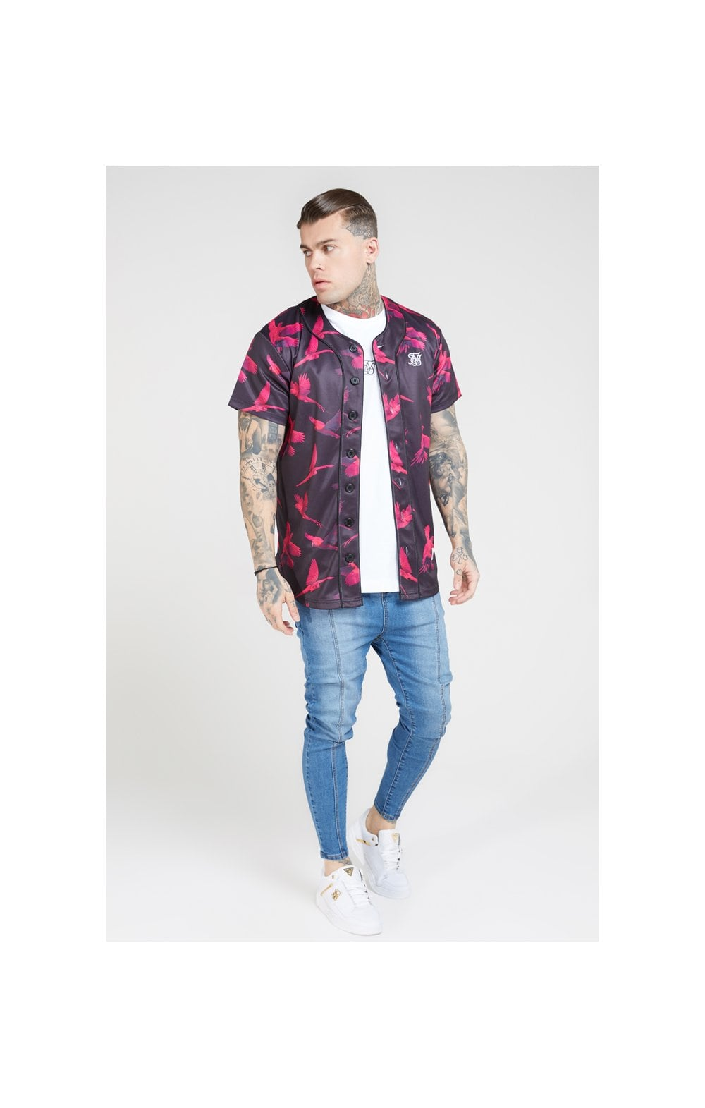 SikSilk Original Baseball Jersey – Black & Pink (2)