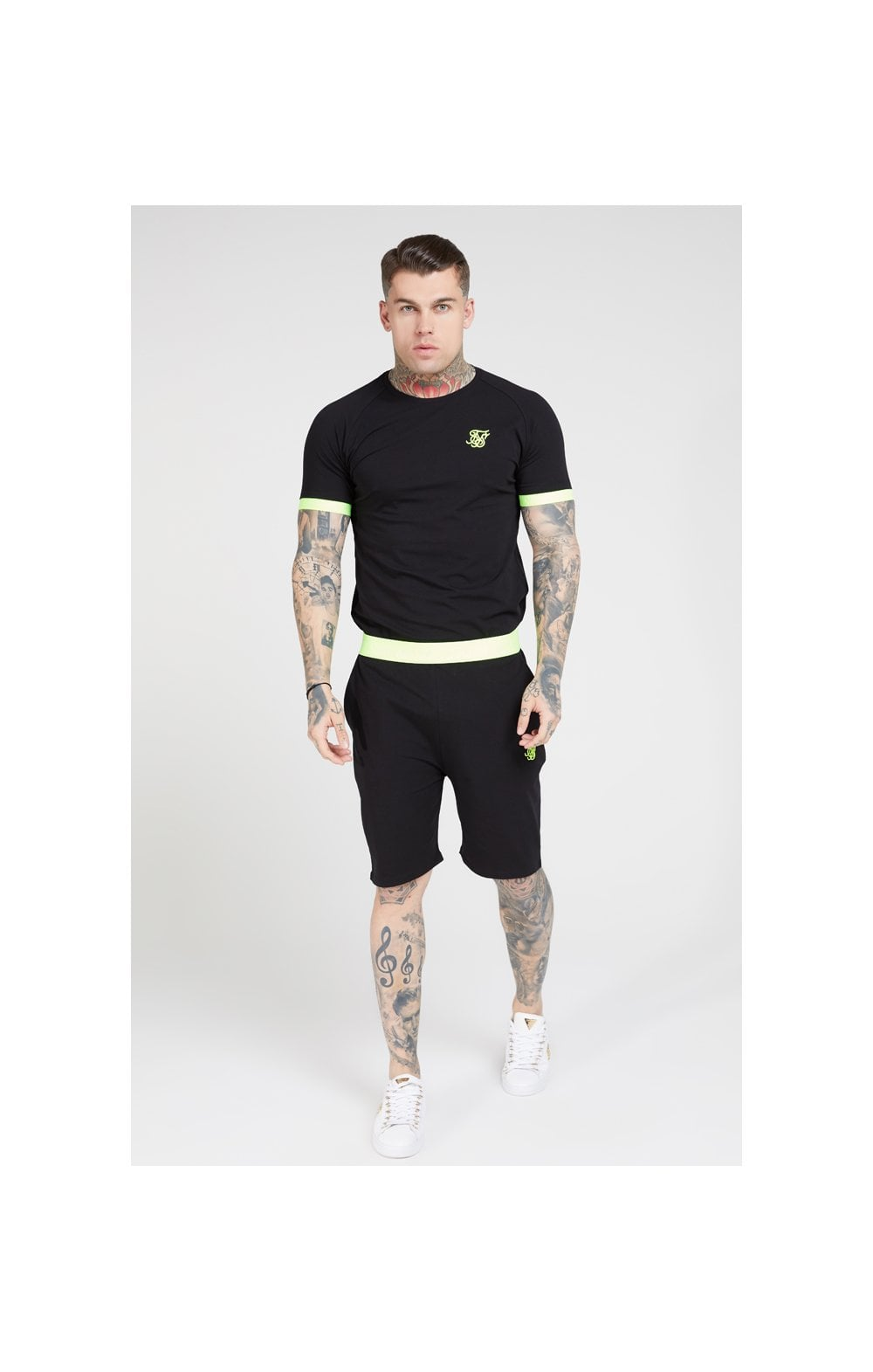 SikSilk S/S Neon Tech Tee – Black & Neon Yellow (2)