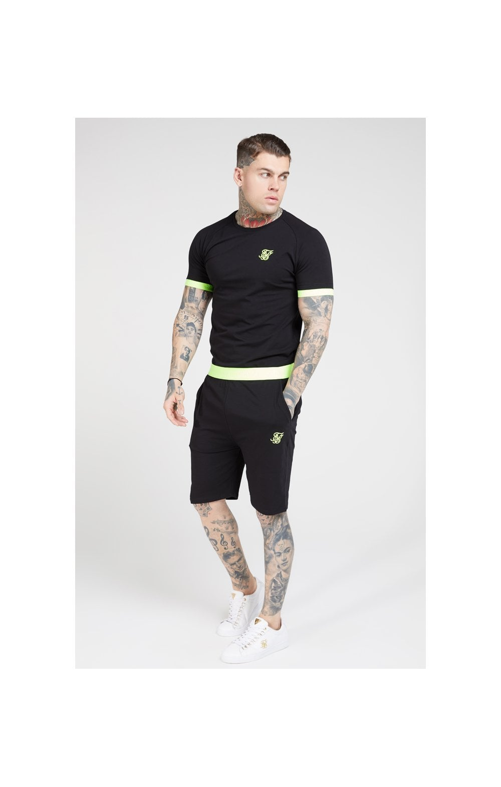 SikSilk S/S Neon Tech Tee – Black & Neon Yellow (3)