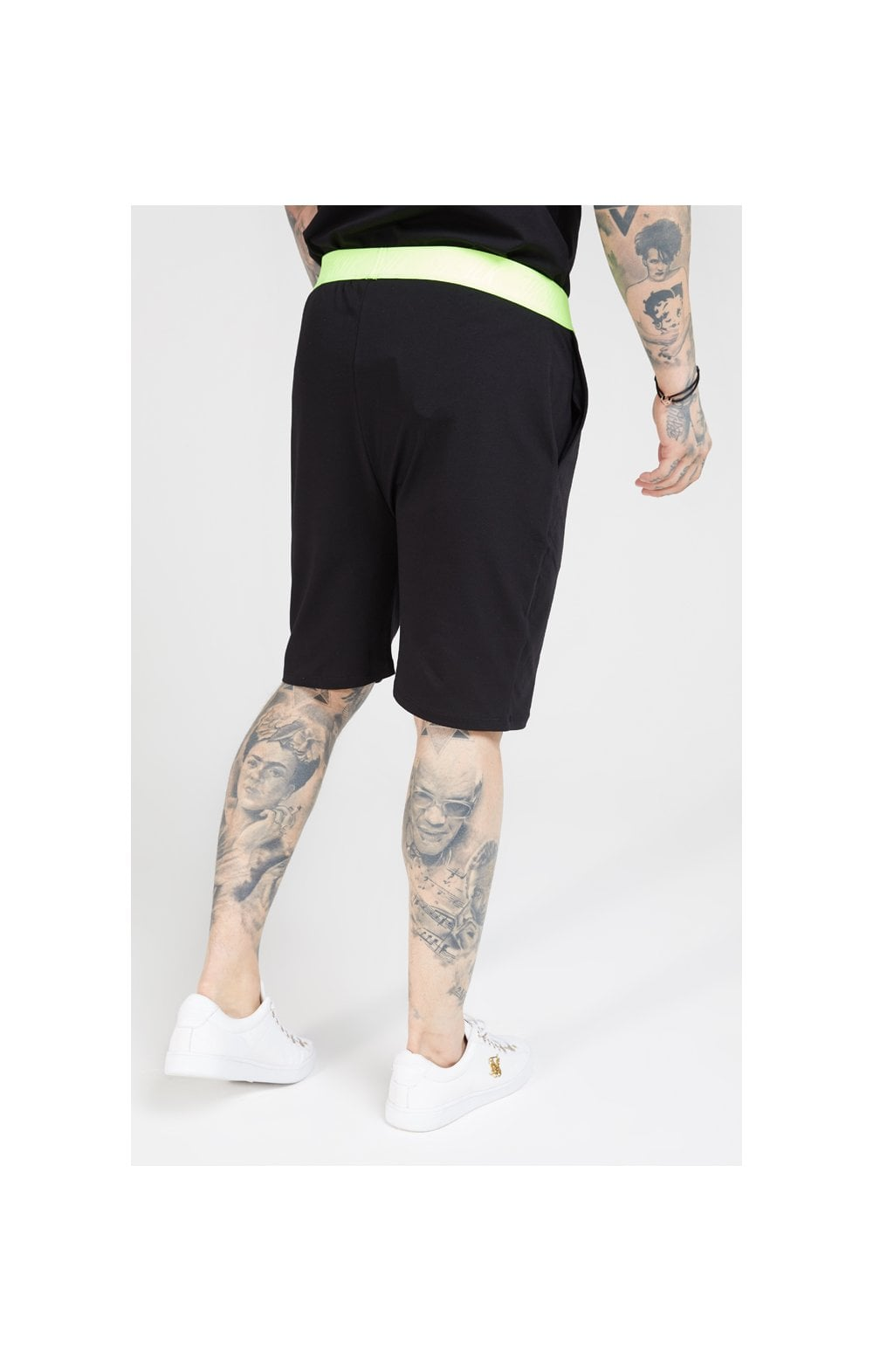 SikSilk Relaxed Fit Shorts – Black & Neon Yellow (1)