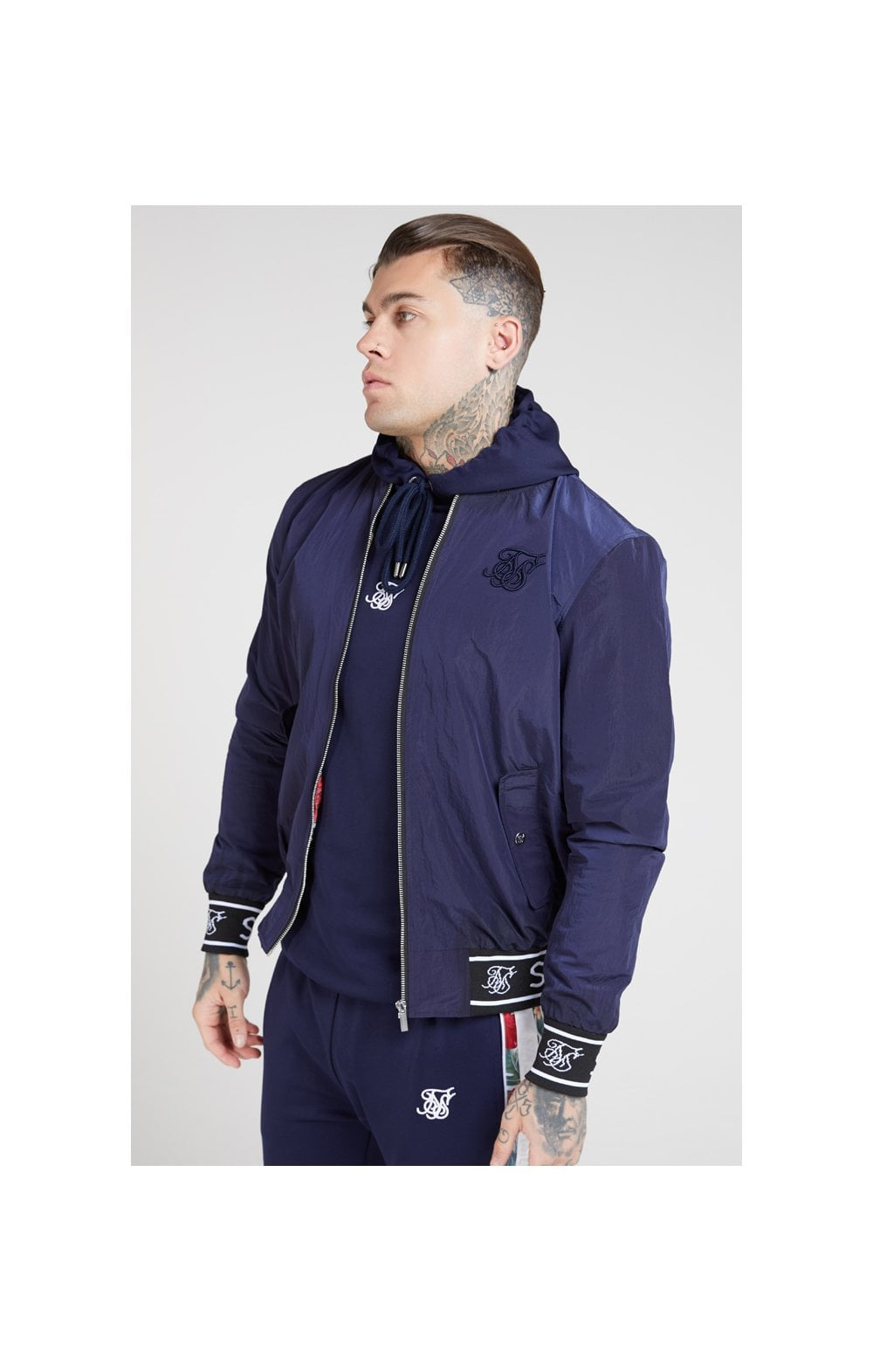 SikSilk Nylon Bomber Jacket – Navy (1)