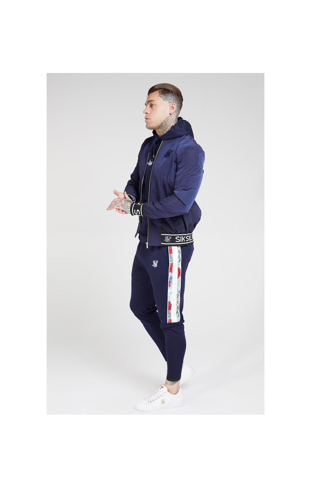 SikSilk Nylon Bomber Jacket – Navy (3)