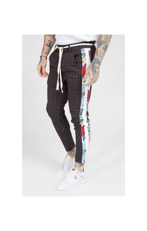 SikSilk Pleated Drop Crotch Tape Pants – Navy Pin Stripe
