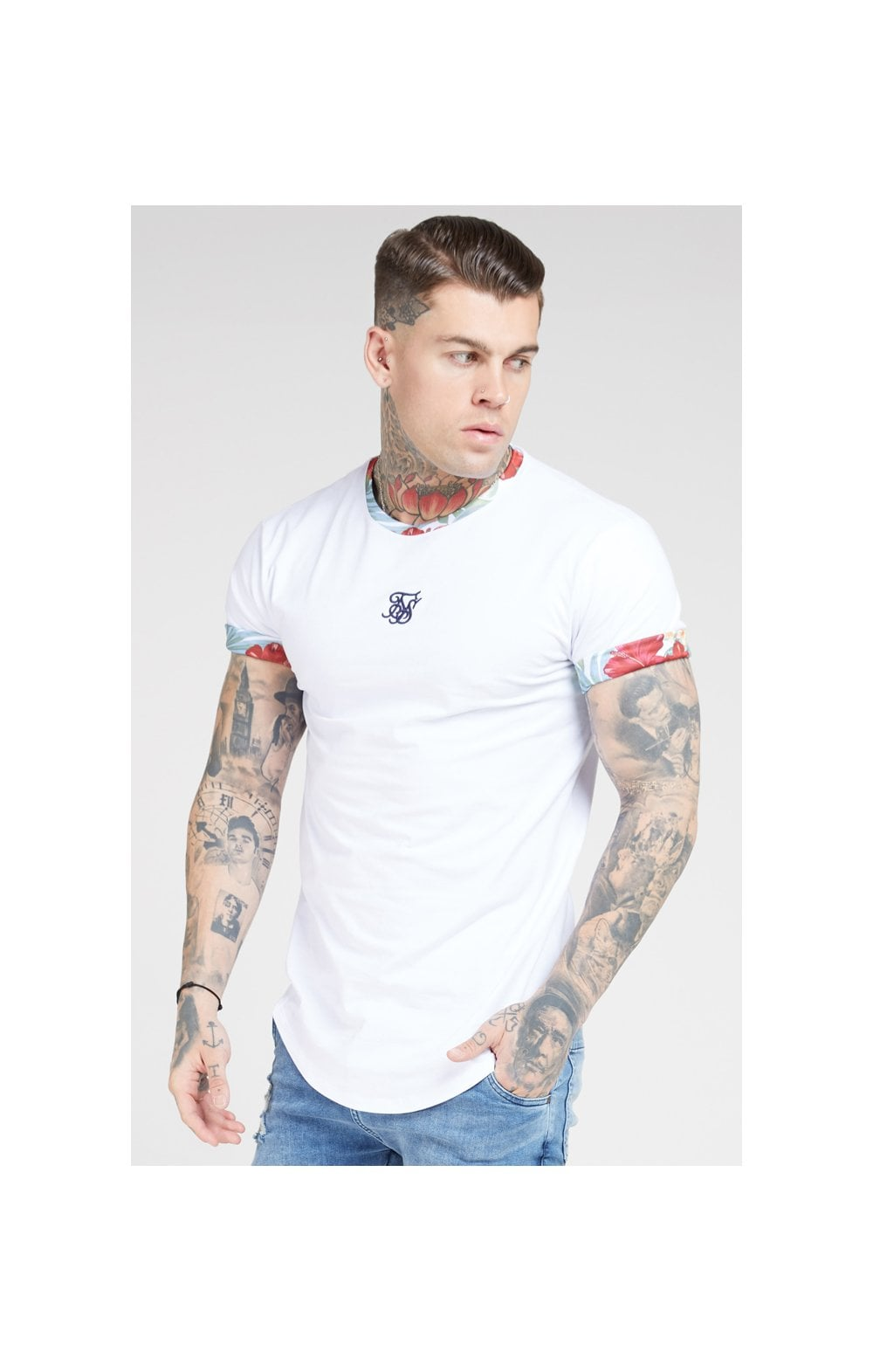 SikSilk S/S Curved Hem Roll Sleeve Tee – White